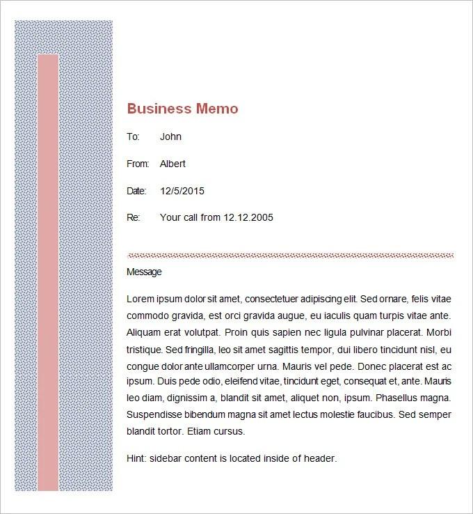 Free Memo Template Word – Business Memo Format Word