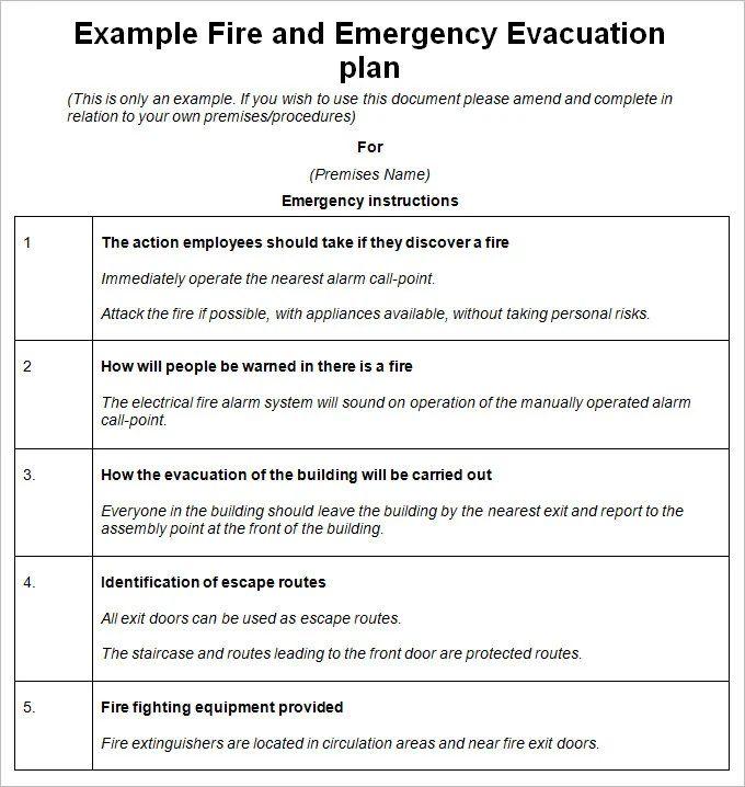 fire evacuation procedure template free