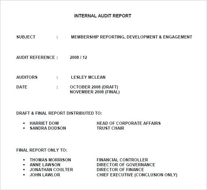 internal audit report sample free - Towerssconstruction