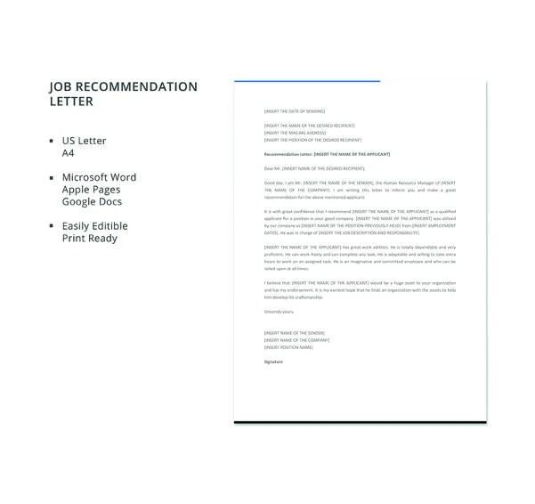 Job Reference Letter Doc