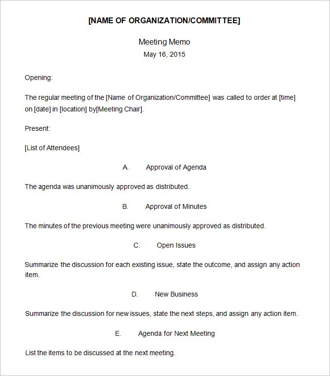 Meeting Memo Template - 18+ Free Word, PDF Documents Download Free