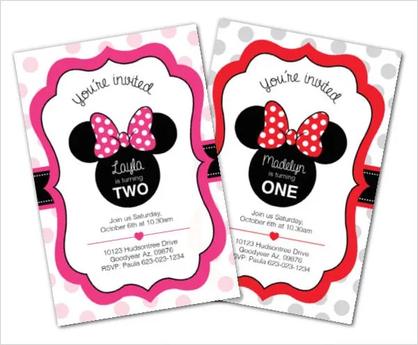 awesome minnie mouse invitation template 27 free psd vector 96 free