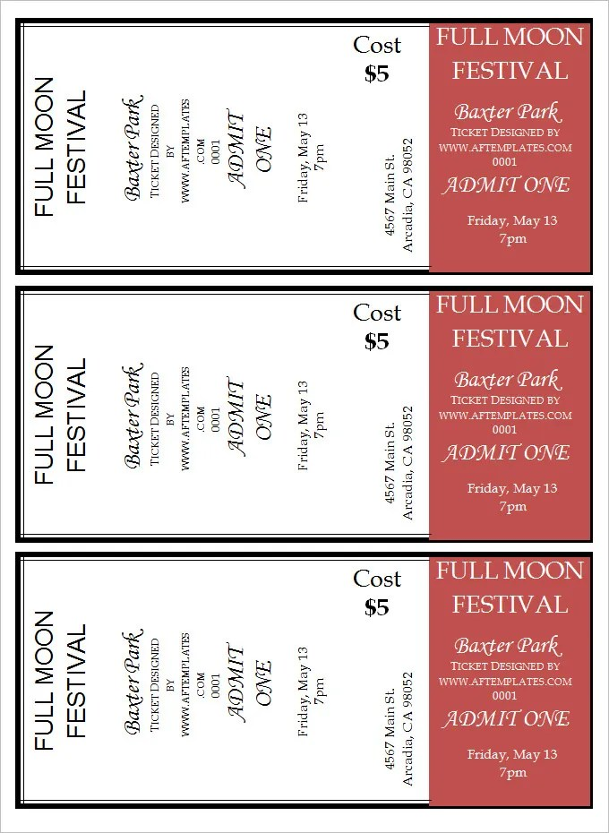 movie ticket templates for word - Ozilalmanoof - movie ticket templates for word