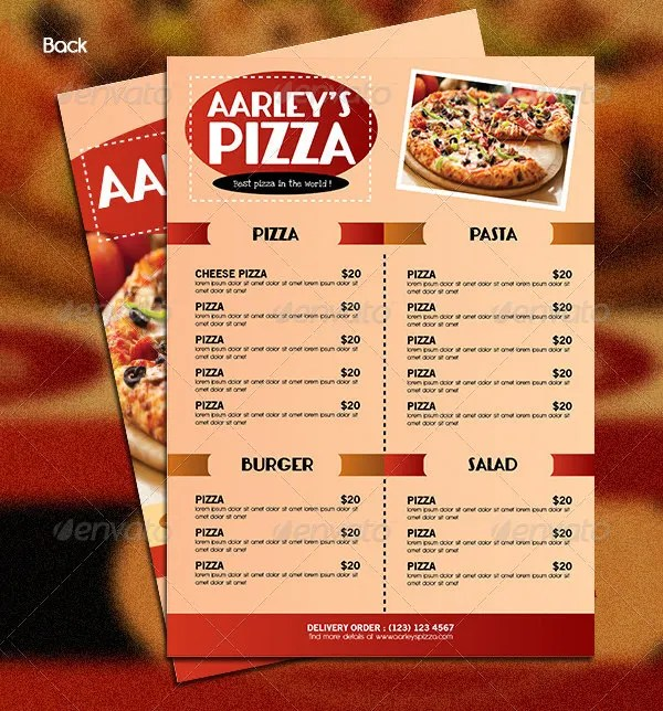 pizza menu template - Boatjeremyeaton - Sample Pizza Menu Template