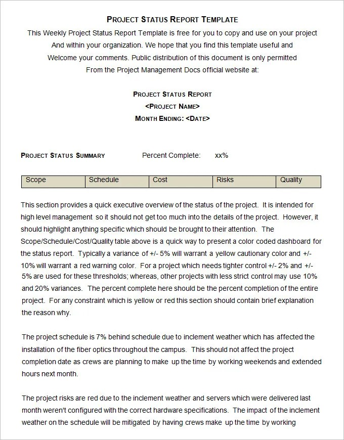 Sample Project Status Report Template - 10 Free Word, PDF Documents - sample project report