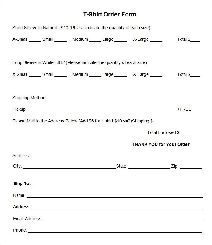 printable t shirt order form template - Funfpandroid - order forms templates free