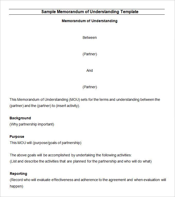 Memorandum of Understanding Template - 20+ Word, PDF, Google Docs
