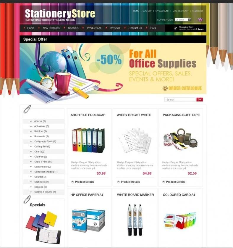 Stationery ZenCart Templates  Themes Free  Premium Free - free online stationery templates