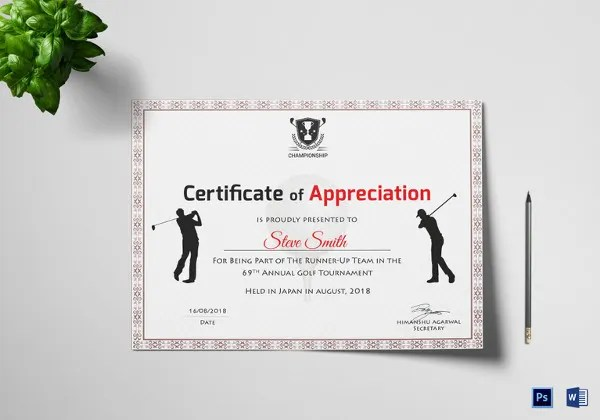 Golf Certificate Templates For Word Costumepartyrun