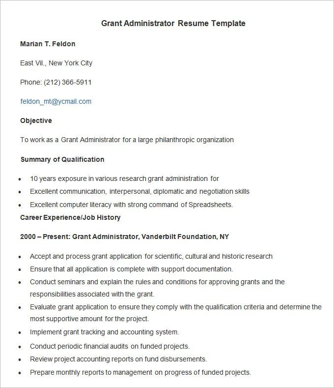Administration Resume Template \u2013 24+ Free Samples, Examples, Format