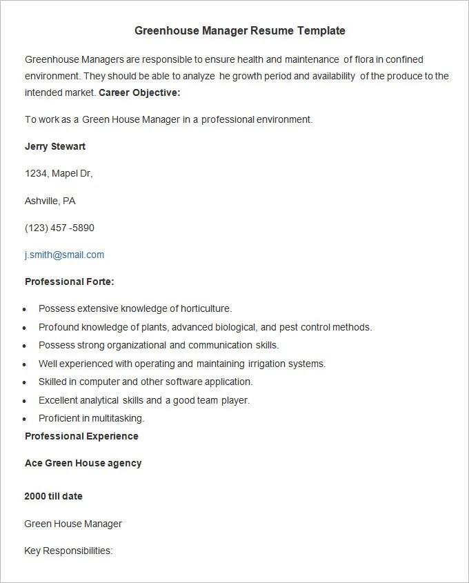 Agriculture Resume Template \u2013 24+ Free Samples, Examples, Format
