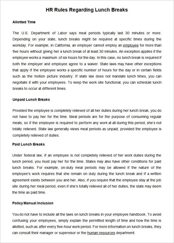 18+ HR Rules \ Regulations HR Templates Free \ Premium - employee manual template