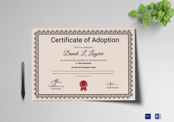 Adoption Certificate Template - 12+ Free PDF, PSD Format Download - blank adoption certificate template