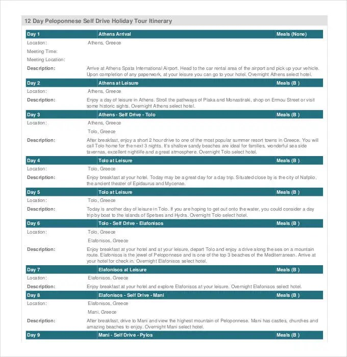 Holiday Itinerary Template Word | Resume Templates For Hotel ...