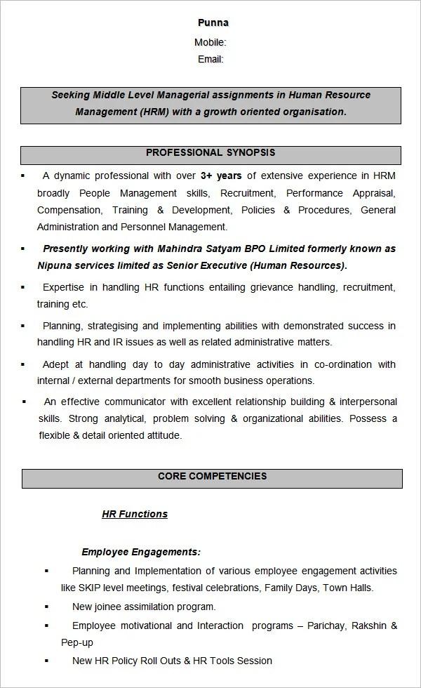 21+ HR Resume Templates - DOC Free  Premium Templates