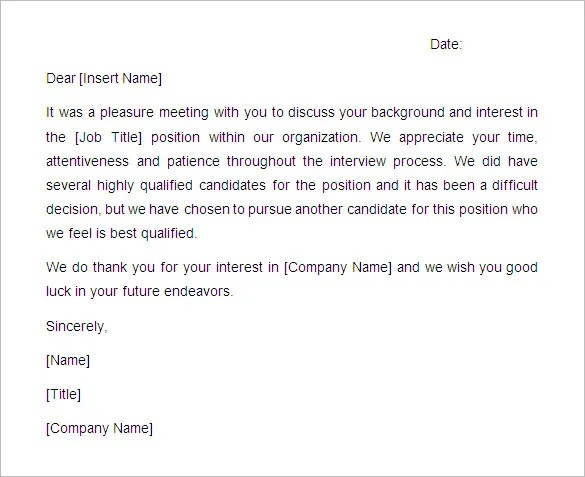 rejection letter for the job job rejection letter samples for candidates the balance 10 rejection letters