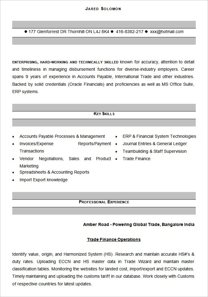 Best Resume Template Accountant - Resume Format For Accountant
