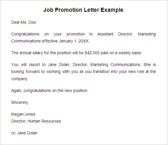 16+ Promotion Letter Templates - Free Samples, Examples Format - job promotion announcement examples