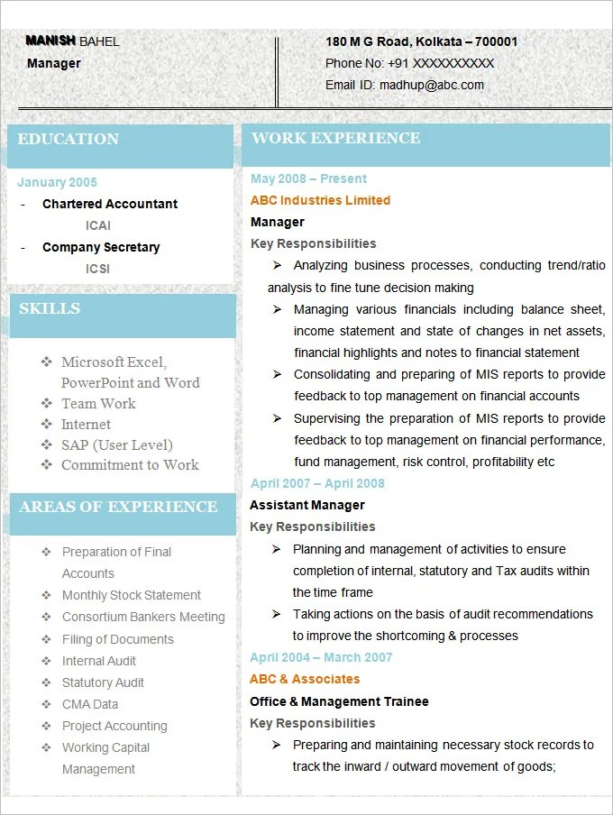 Accounting Resume Templates - 20+ Free Samples, Examples, Format - Best Resume Template
