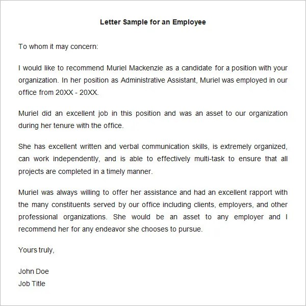 18+ Employee Recommendation Letters - PDF, DOC Free  Premium