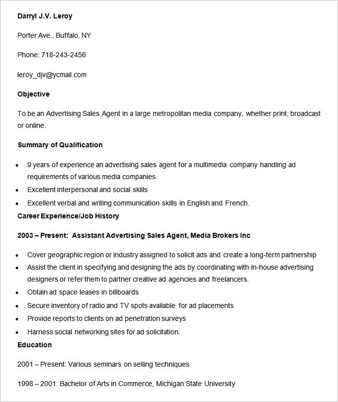 Advertising Resume Template \u2013 16+ Free Samples, Examples, Format - advertising resume examples