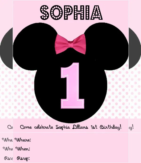 Awesome Minnie Mouse Invitation Template - 27+ Free PSD, Vector EPS