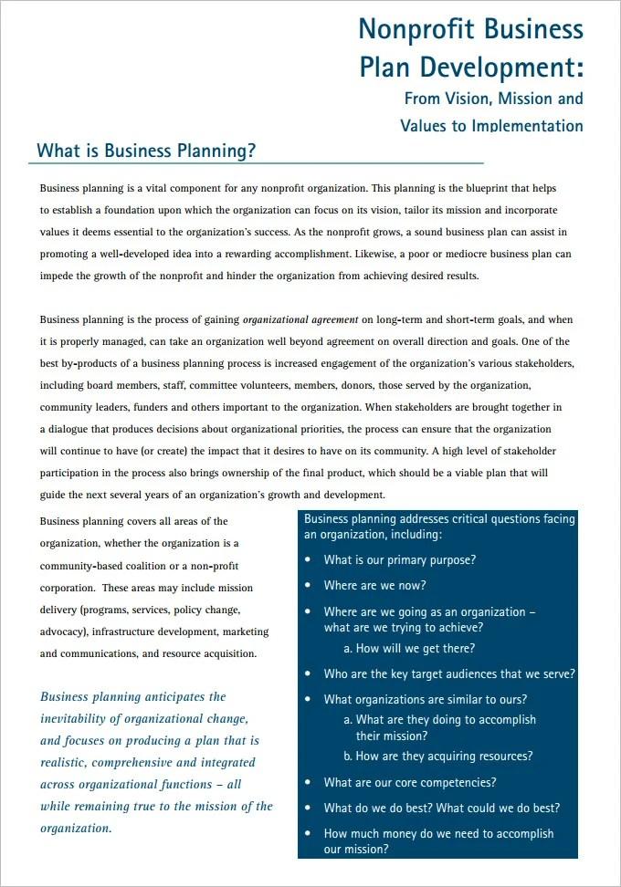 21+ Non Profit Business Plan Templates - PDF, DOC Free  Premium