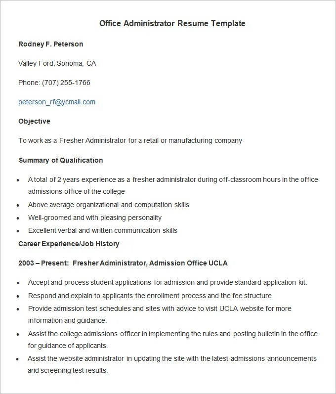 Administration Resume Template \u2013 24+ Free Samples, Examples, Format - resume format for administration