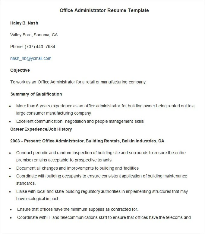 Administration Resume Template \u2013 24+ Free Samples, Examples, Format - administration resume format