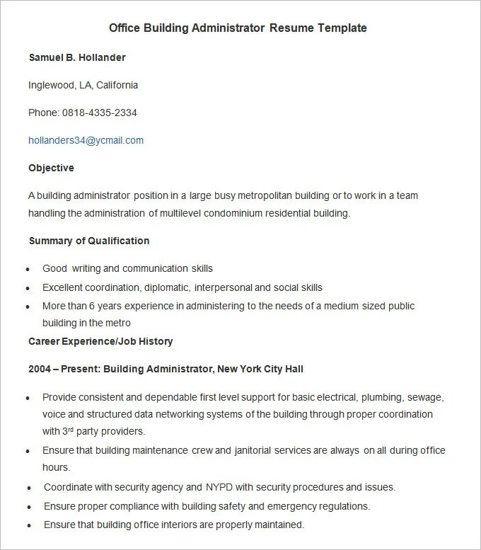 Administration Resume Template - 34+ Free Samples, Examples, Format