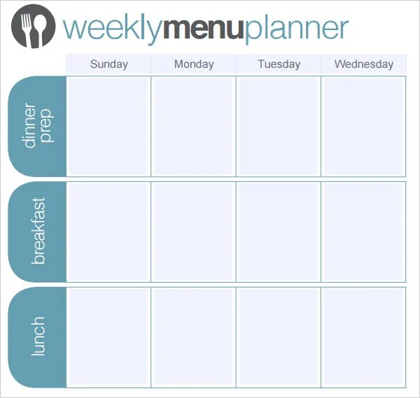 Menu Planner Template \u2013 18+ Free Word, PSD, PDF, EPS, InDesign - daily menu planner template