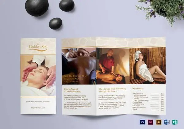 16+ Amazing Spa Brochure Template  Designs Free  Premium Templates - printable tri fold brochure template