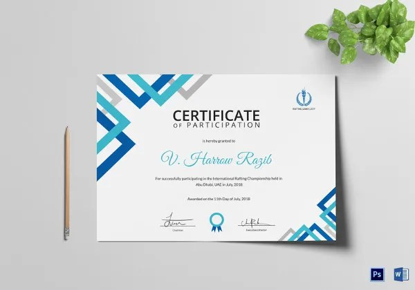 Certificate of Appreciation Template - 30+ Free Word, PDF, Photoshop - design of certificate of participation