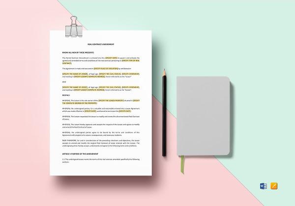 8+ Contract Amendment Templates - Word, PDF, Google Docs Documents