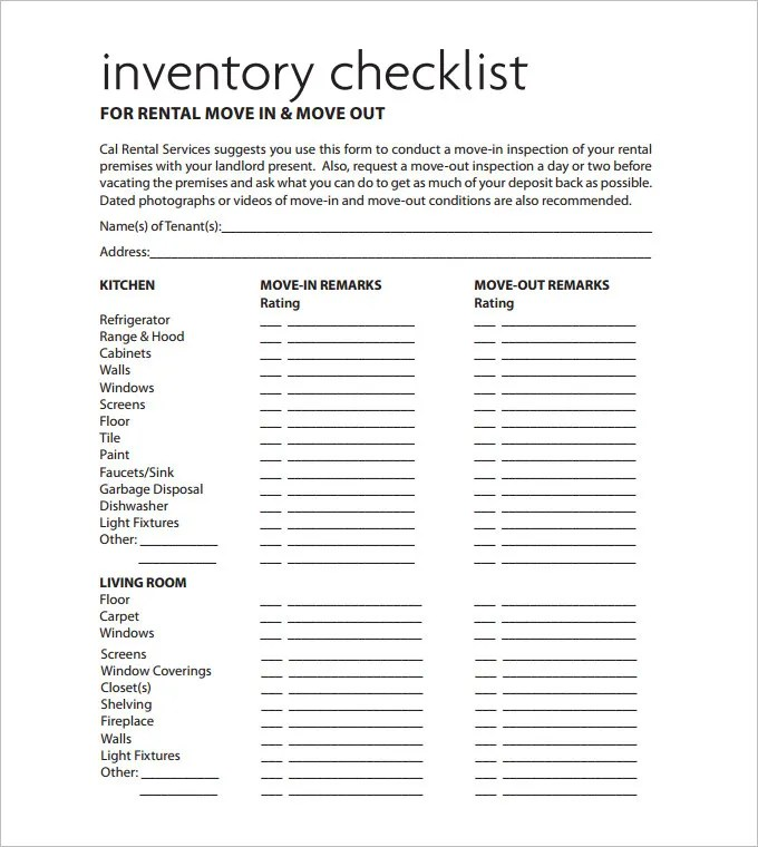 Sample Rental Inventory Template - 7 Free Excel, PDF Documents - rental management template