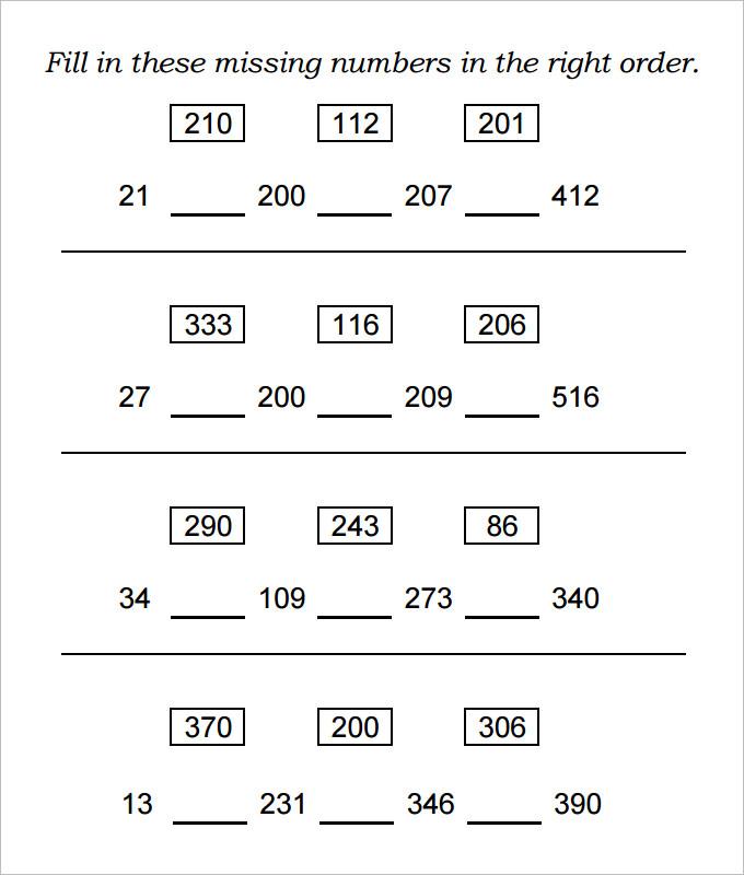 10+ Sample Missing Numbers Worksheet Templates Free  Premium - numbers templates free