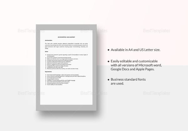 job role of a sales assistant