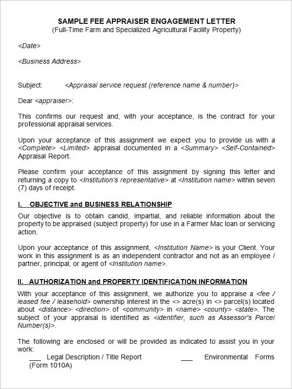 22+ Appraisal Letters - Free Sample, Example Format Free - engagement letter