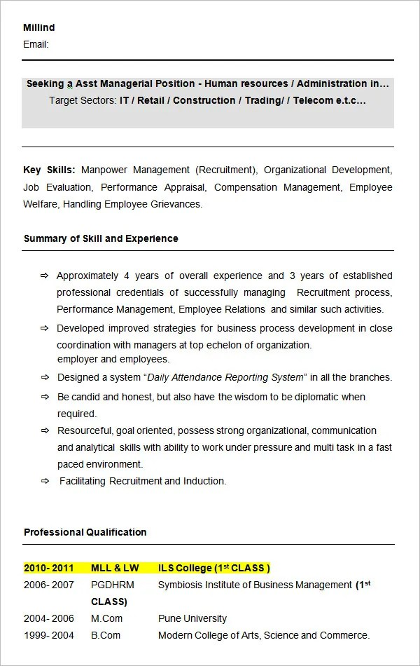 Manager Resume Word This Resume Here Is For A Highly Seasoned - director of hr resume
