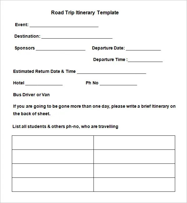 Road Trip Itinerary Template - 9 Free Word, Excel, PDF Documents
