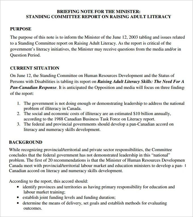 10+ Briefing Note Templates - PDF, DOC Free  Premium Templates