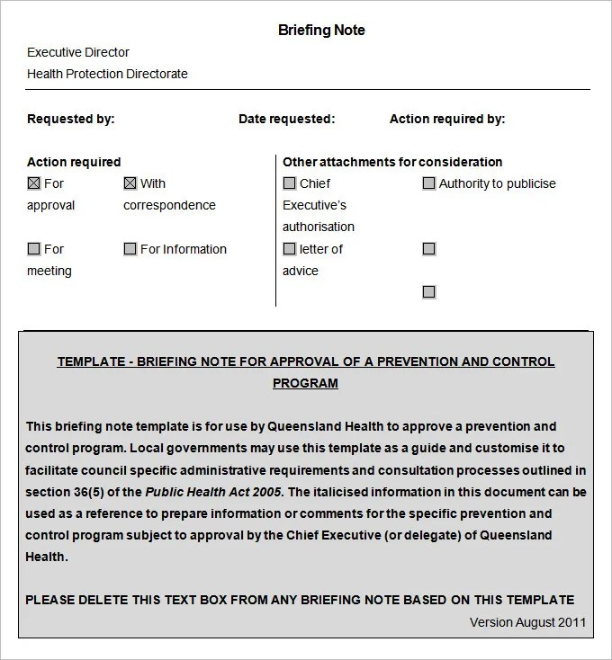 Briefing Note Template Briefing Note Template Pdf Download Briefing