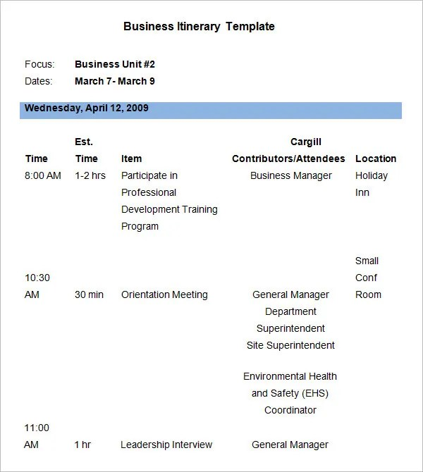 Business Itinerary Template - 7 Free Word, PDF Documents Download