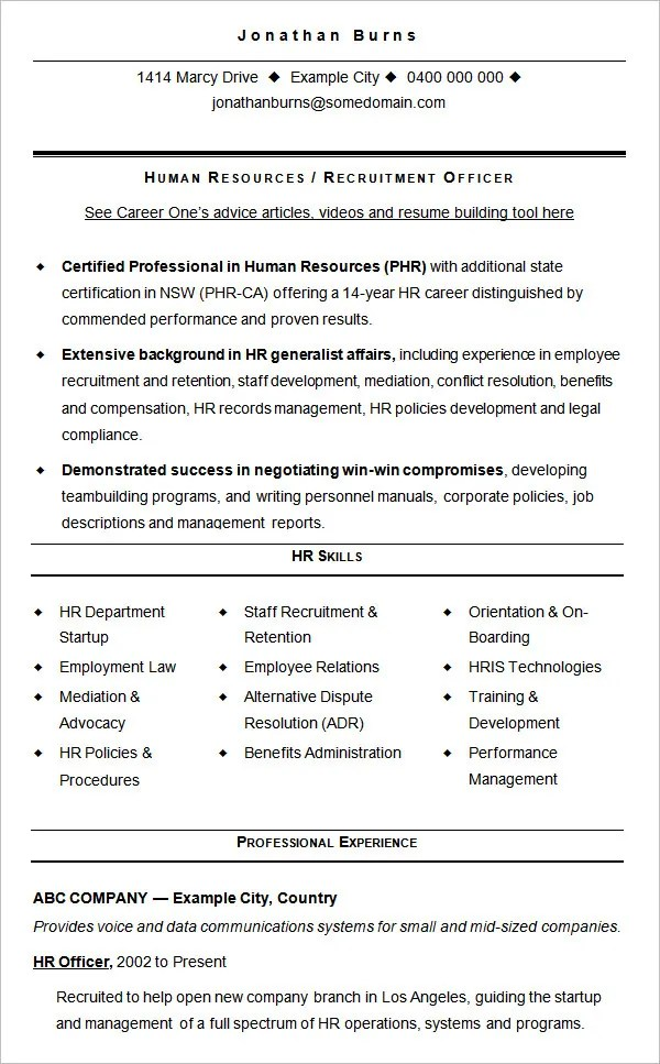 Hr Resume 7 Amazing Human Resources Resume Examples Livecareer - human resources resume template