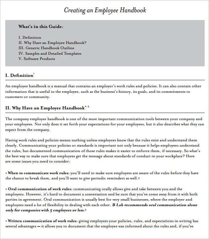 14+ Sample Employee Handbook  Manual Templates Free  Premium
