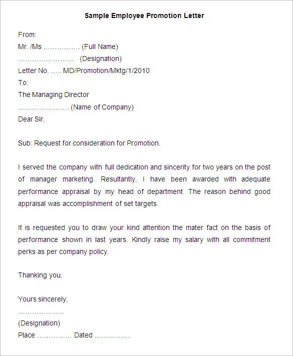 employee promotion letter format - Onwebioinnovate - employee promotion announcement template