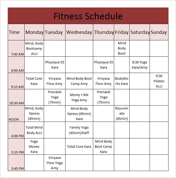 fitness plan chart - Onwebioinnovate