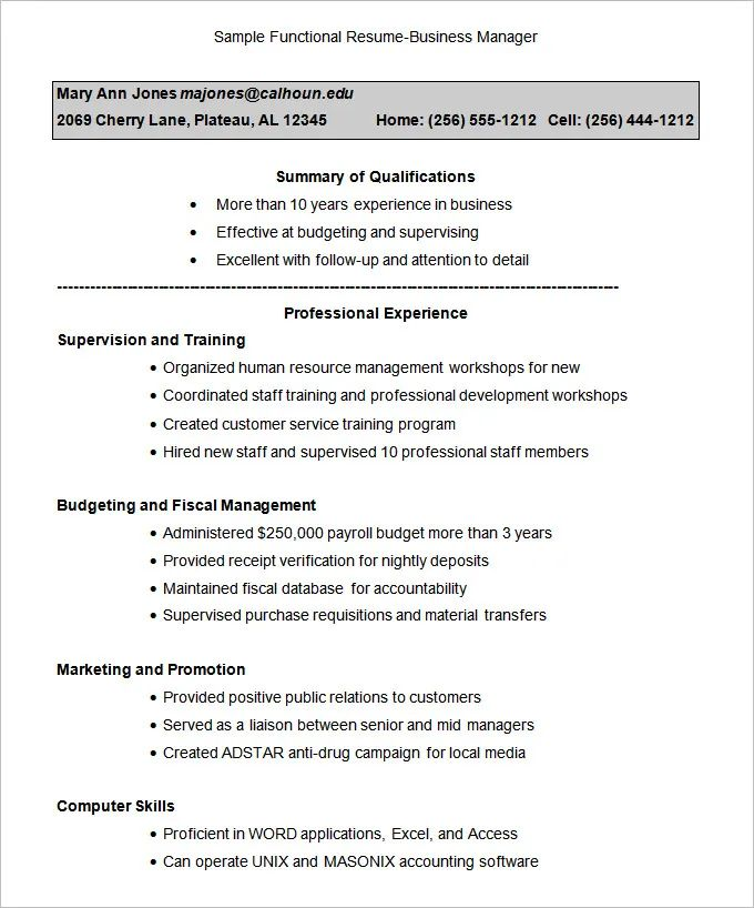 sample of functional summary for resume