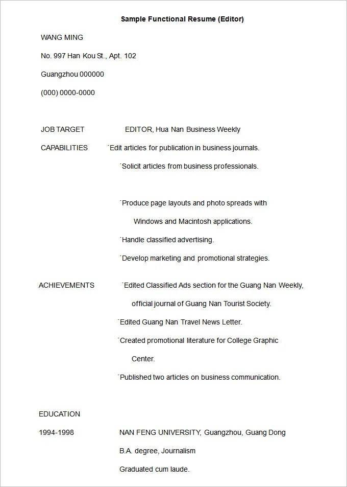 Functional Resume Template \u2013 15+ Free Samples, Examples, Format - Functional Resume Template Pdf