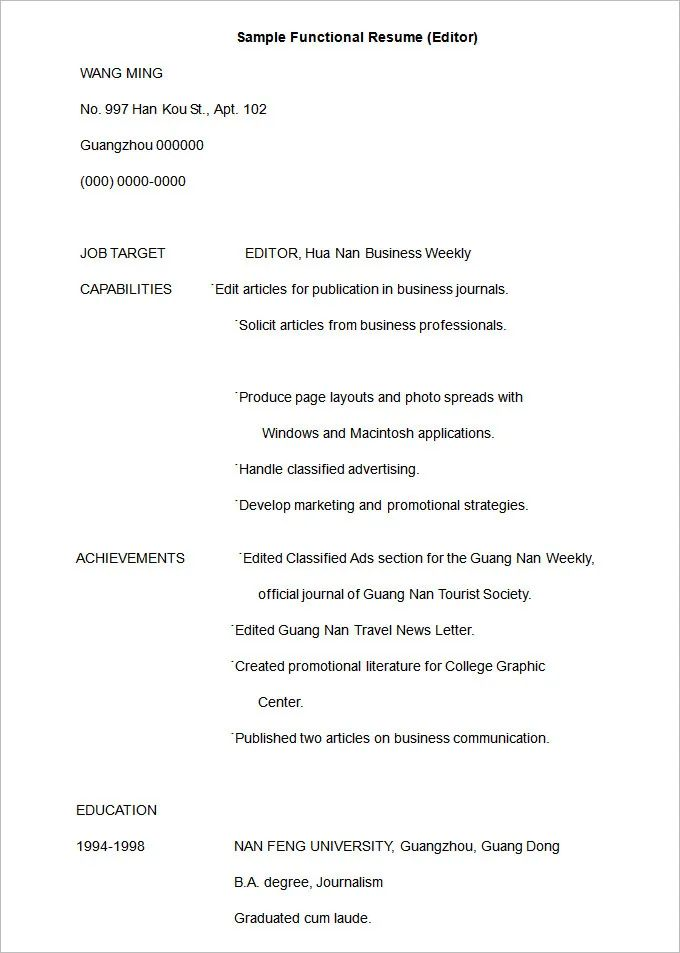 resume samples for video editor